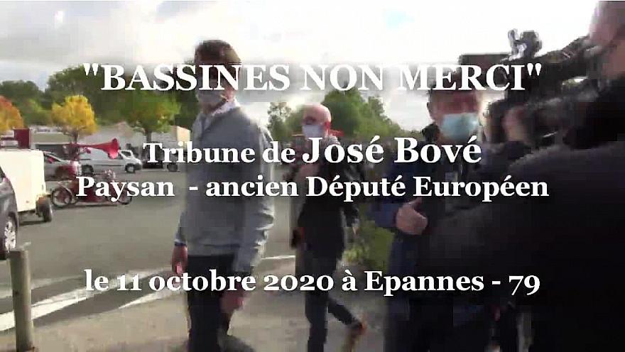 'BASSINES NON MERCI' Tribune de José Bové à la manifestation du 11 octobre 2020 à Epannes - 79